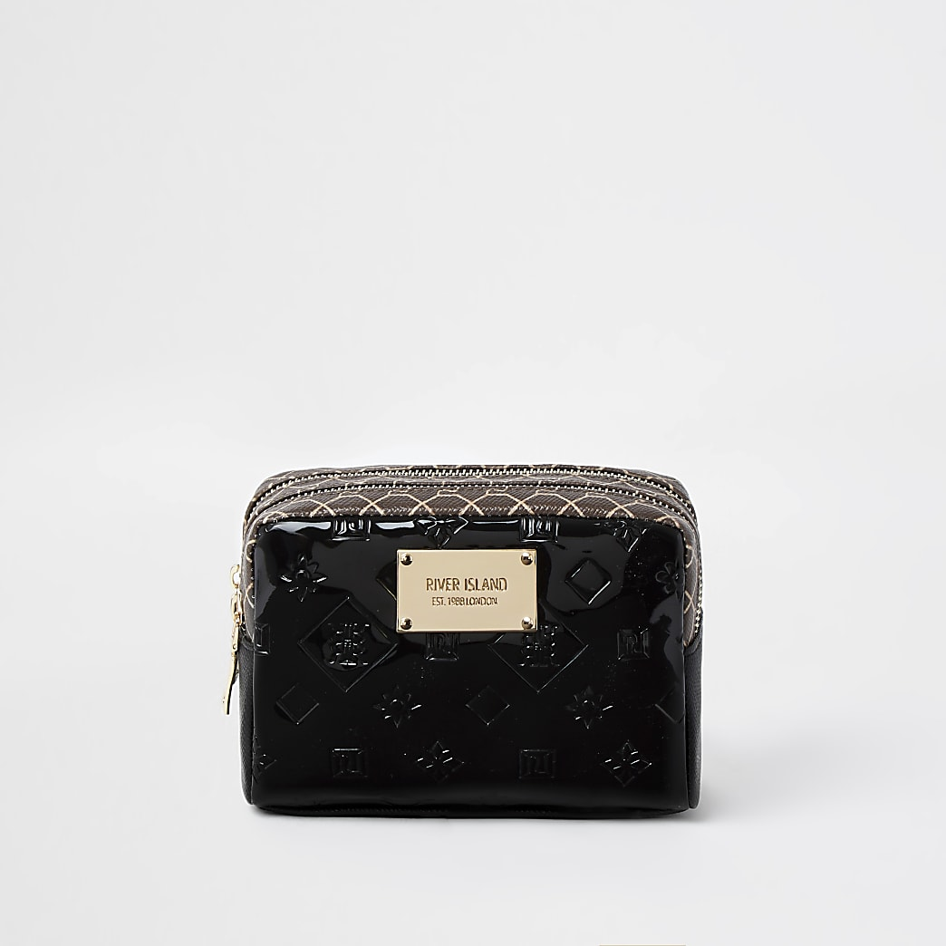 Black patent monogram print make-up bag