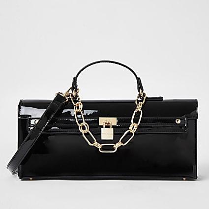 Black patent padlock handbag