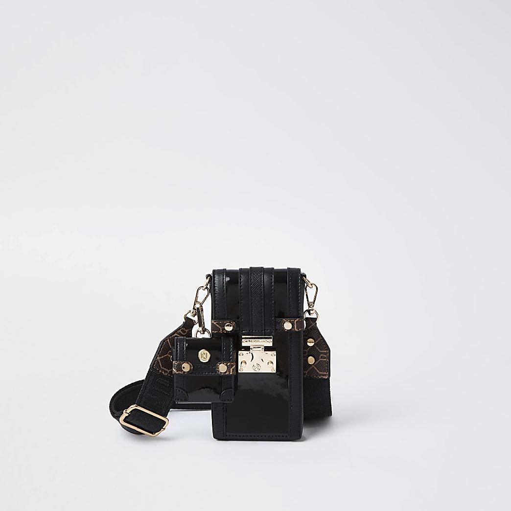 Black patent phone and airpod bag