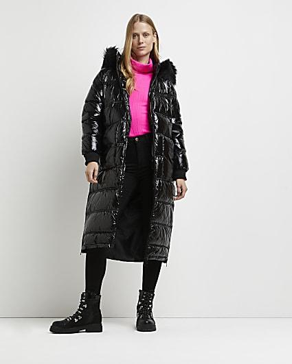 Black patent puffer coat