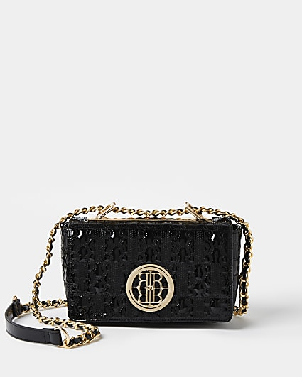 Black patent quilted cross body bag