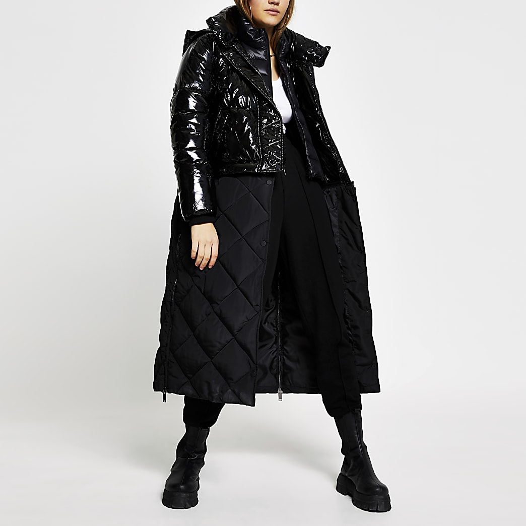 Black patent quilted long line puffer coat