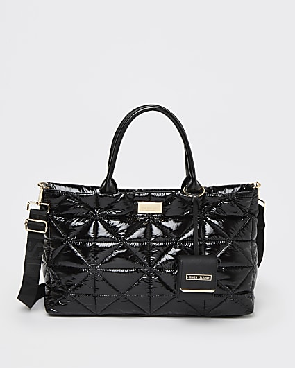 Black patent quilted tote bag