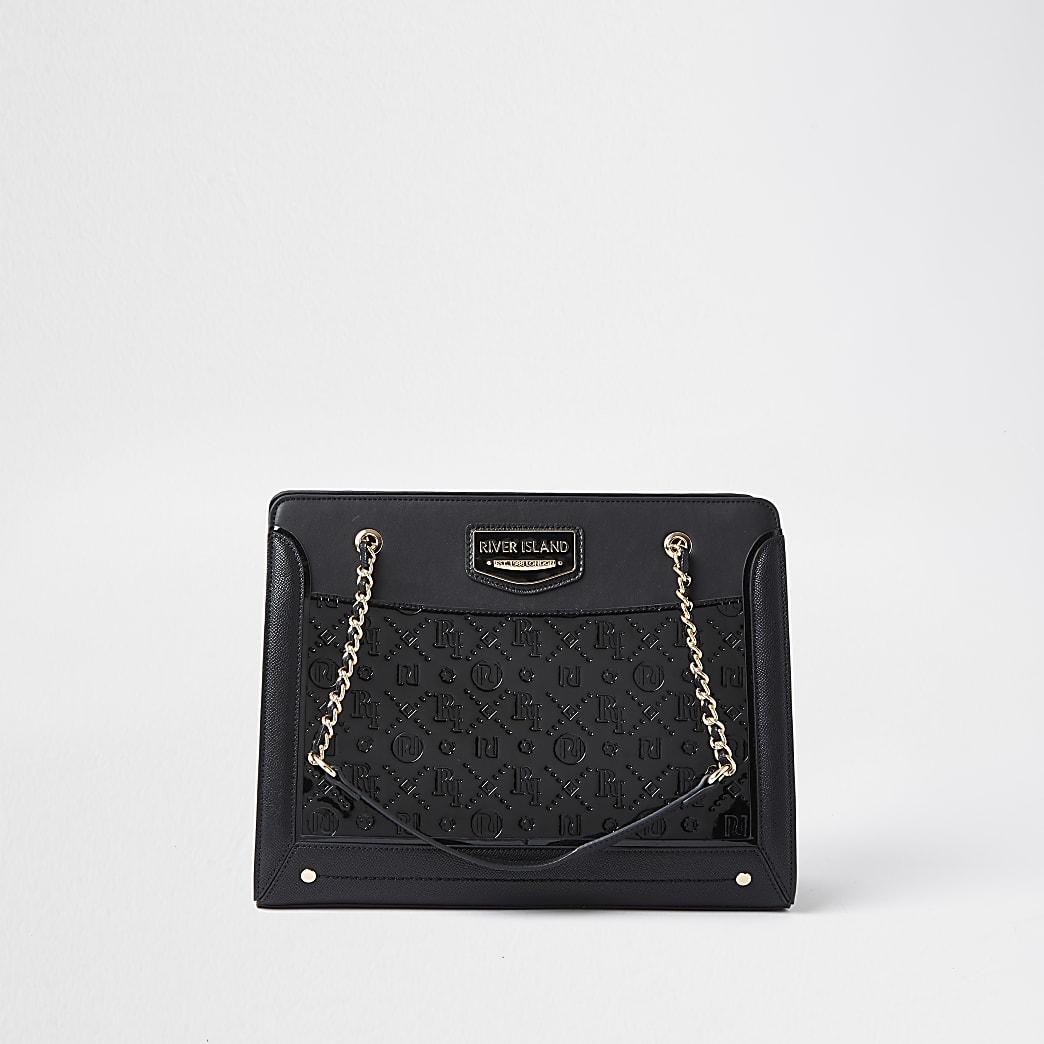 Black patent RI embossed chain tote bag
