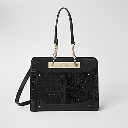 Black patent RI embossed chain tote handbag