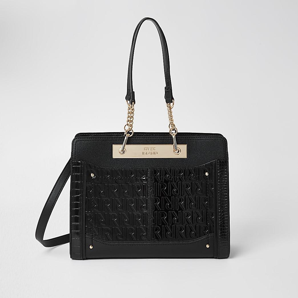 Black patent RI embossed chain tote handbag