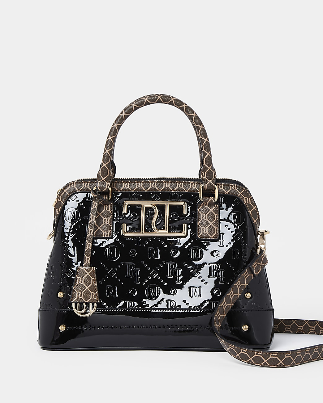 Black patent RI embossed mini tote bag