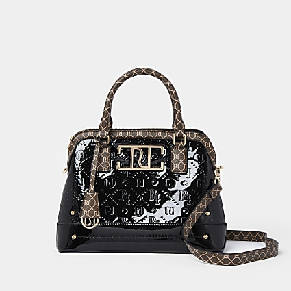 Black patent RI embossed mini tote bag