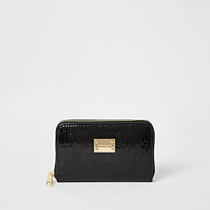 Black patent RI embossed zip around purse