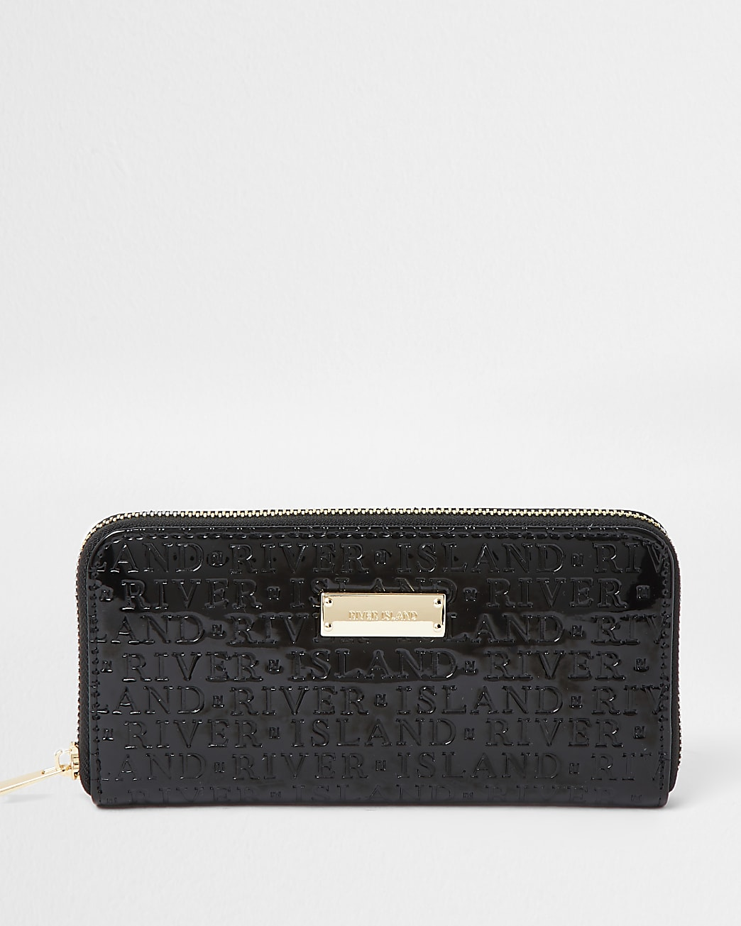 Black patent RI embossed ziparound purse