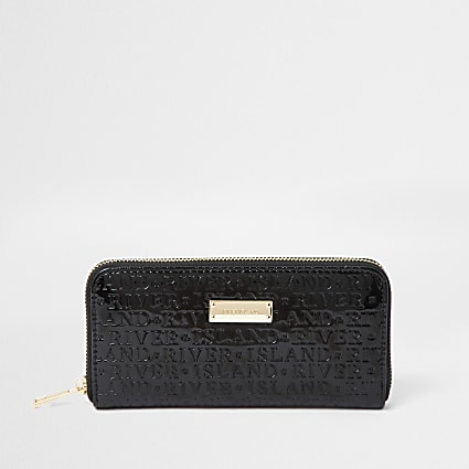 Black patent RI embossed ziparound purse