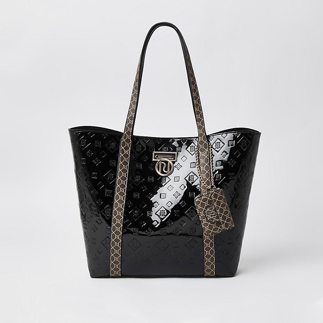 Black patent RI monogram shopper bag