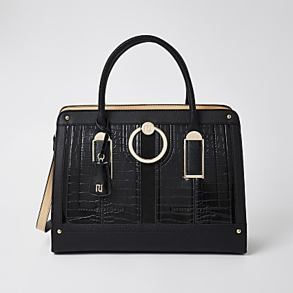 Black patent ring front tote handbag