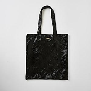 Schwarze Lack-Tote-Bag mit Struktur