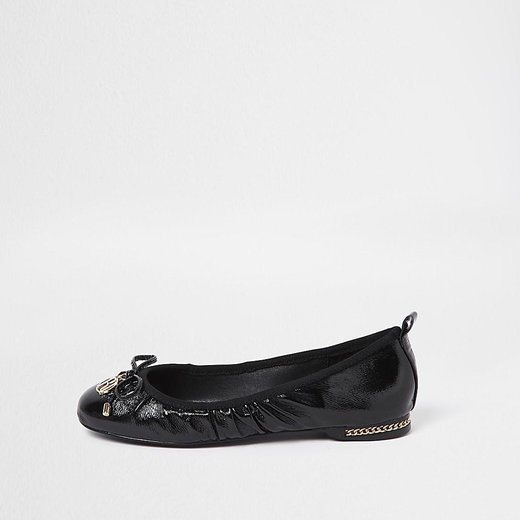 Black patent toe ballerina bow shoes