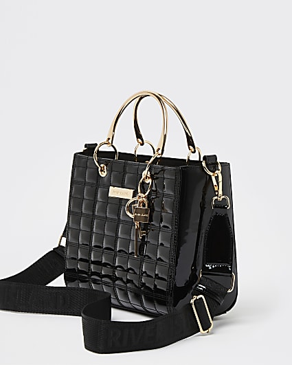 Black patent tote bag