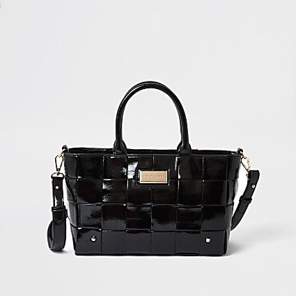 Black patent woven tote bag