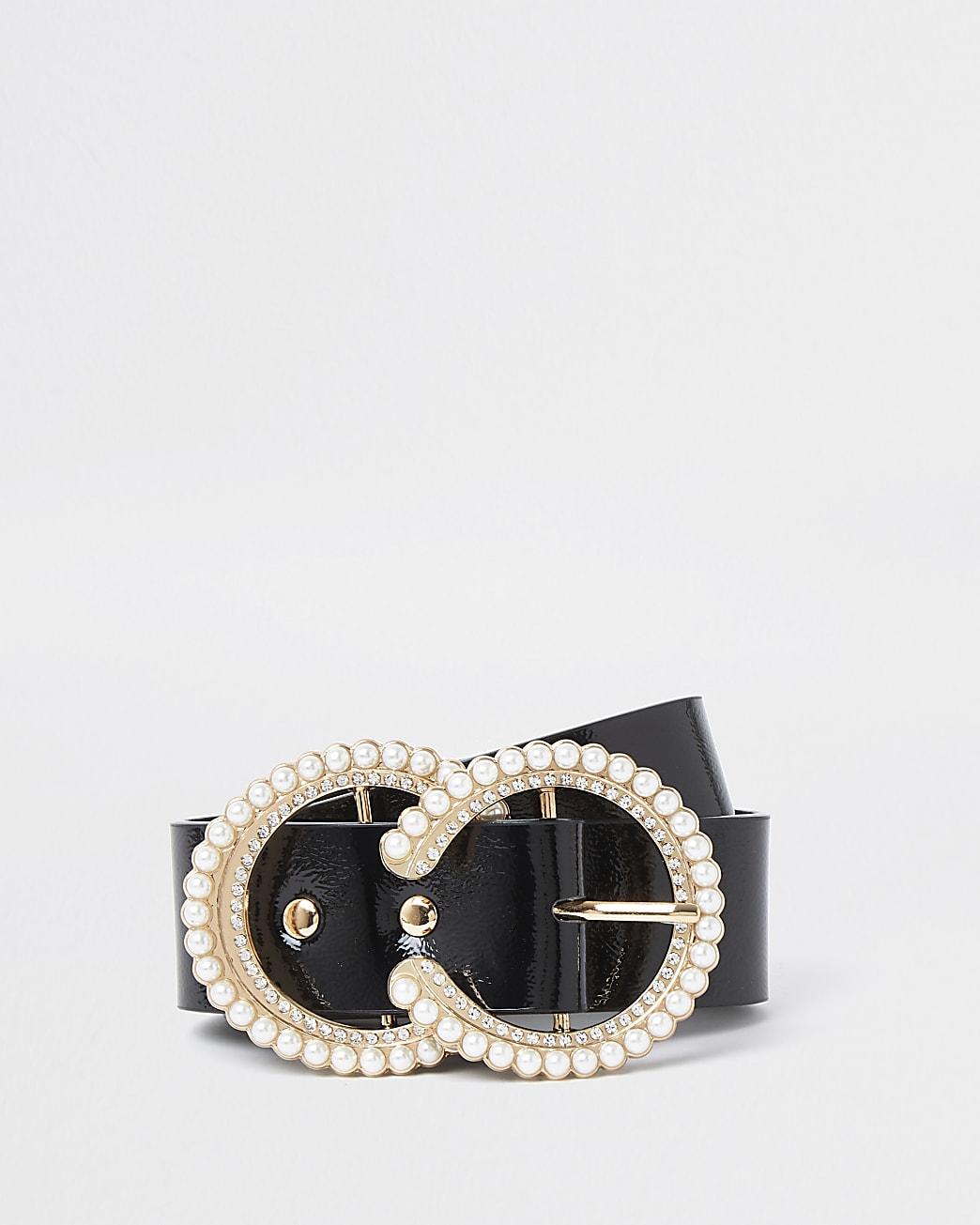 Black pearl and diamante buckle belt