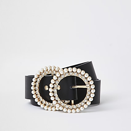 Black Pearl And Diamante Double Ring