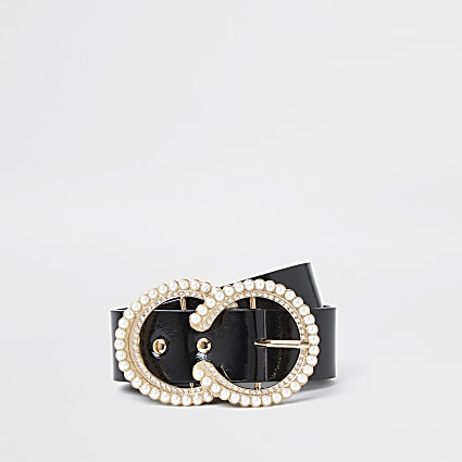 Black pearl diamond circle belt