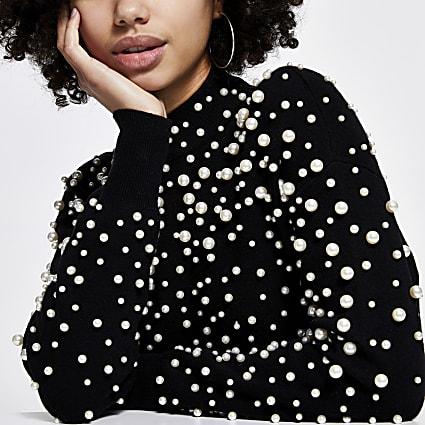 Black pearl embellished jumper