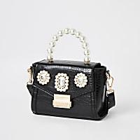 Black pearl embellished mini bag