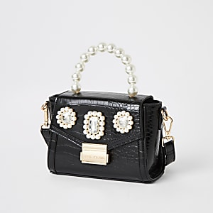 Black pearl embellished mini bag