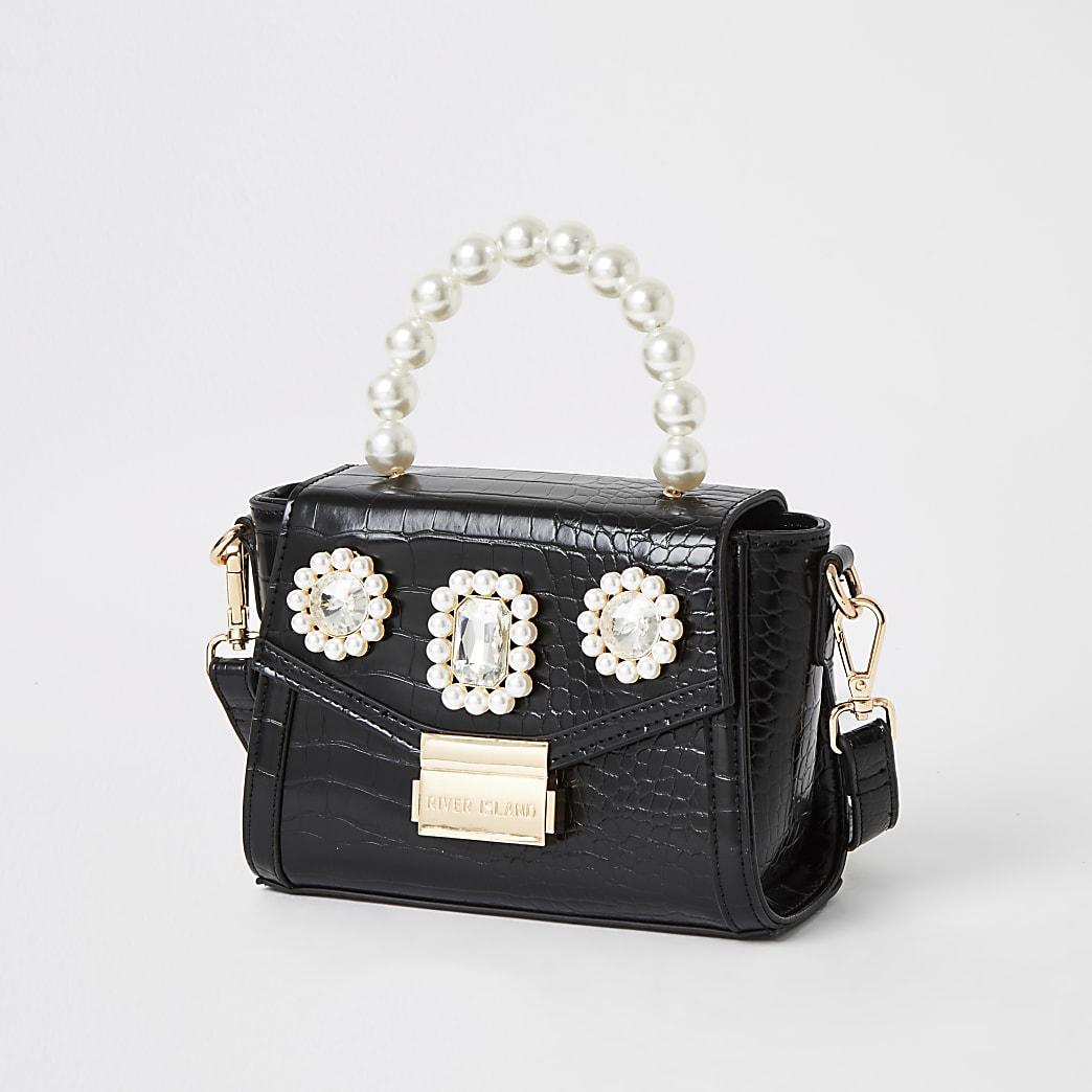 Schwarze Minitasche mit Perlenapplikation