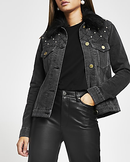 Black pearl faux fur collar denim jacket