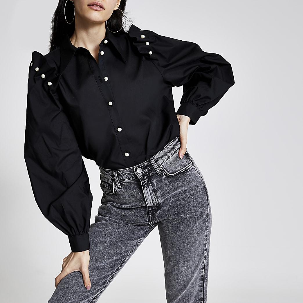 Black pearl frill shoulder long sleeve shirt