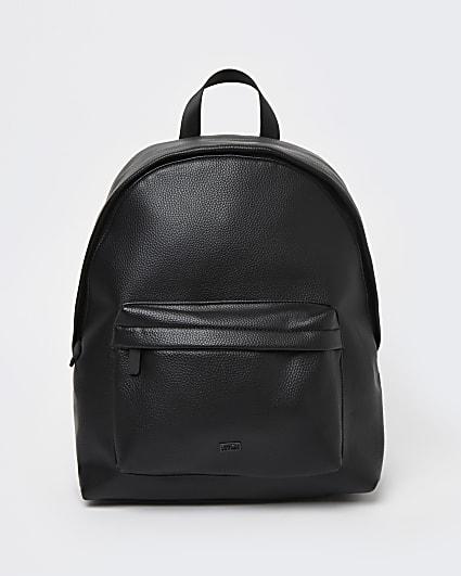 Black pebbled front pocket PU backpack