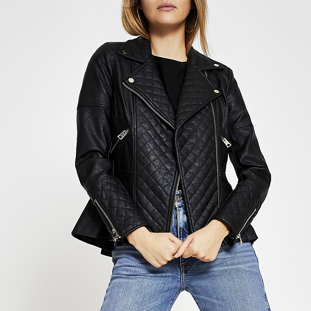 Black peplum biker jacket