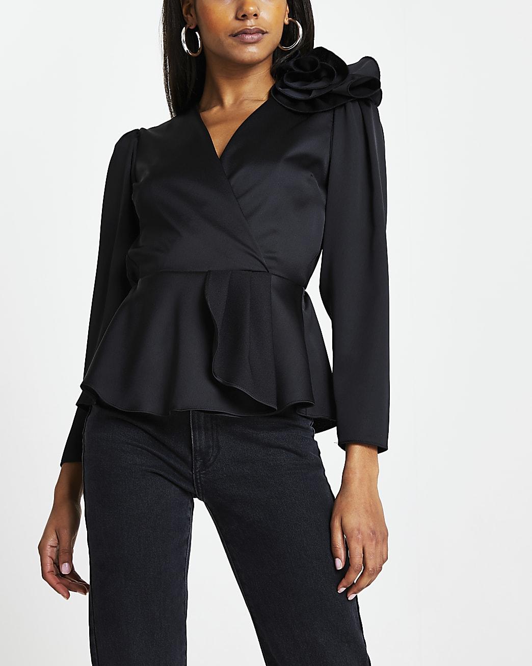 Black peplum corsage wrap top