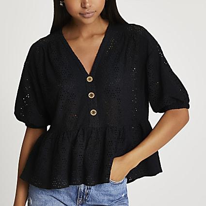 Black peplum hem broidery top
