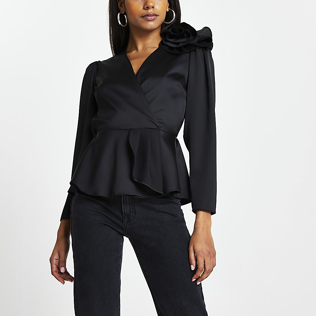 Black peplum hem corsage detail wrap top