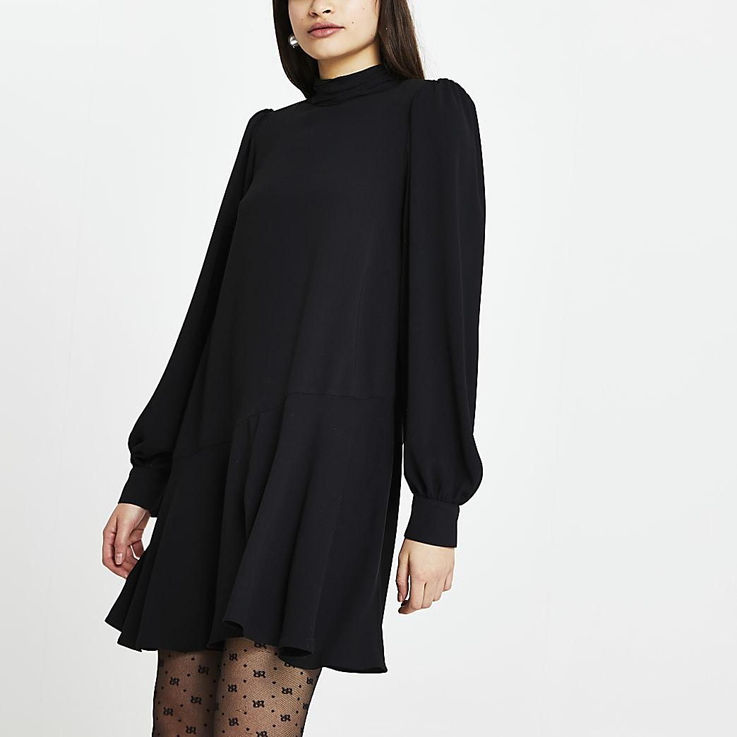 Black peplum hem shift mini dress
