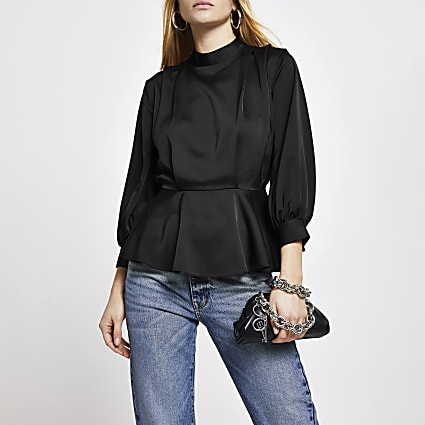 Black peplum pleat long sleeve top