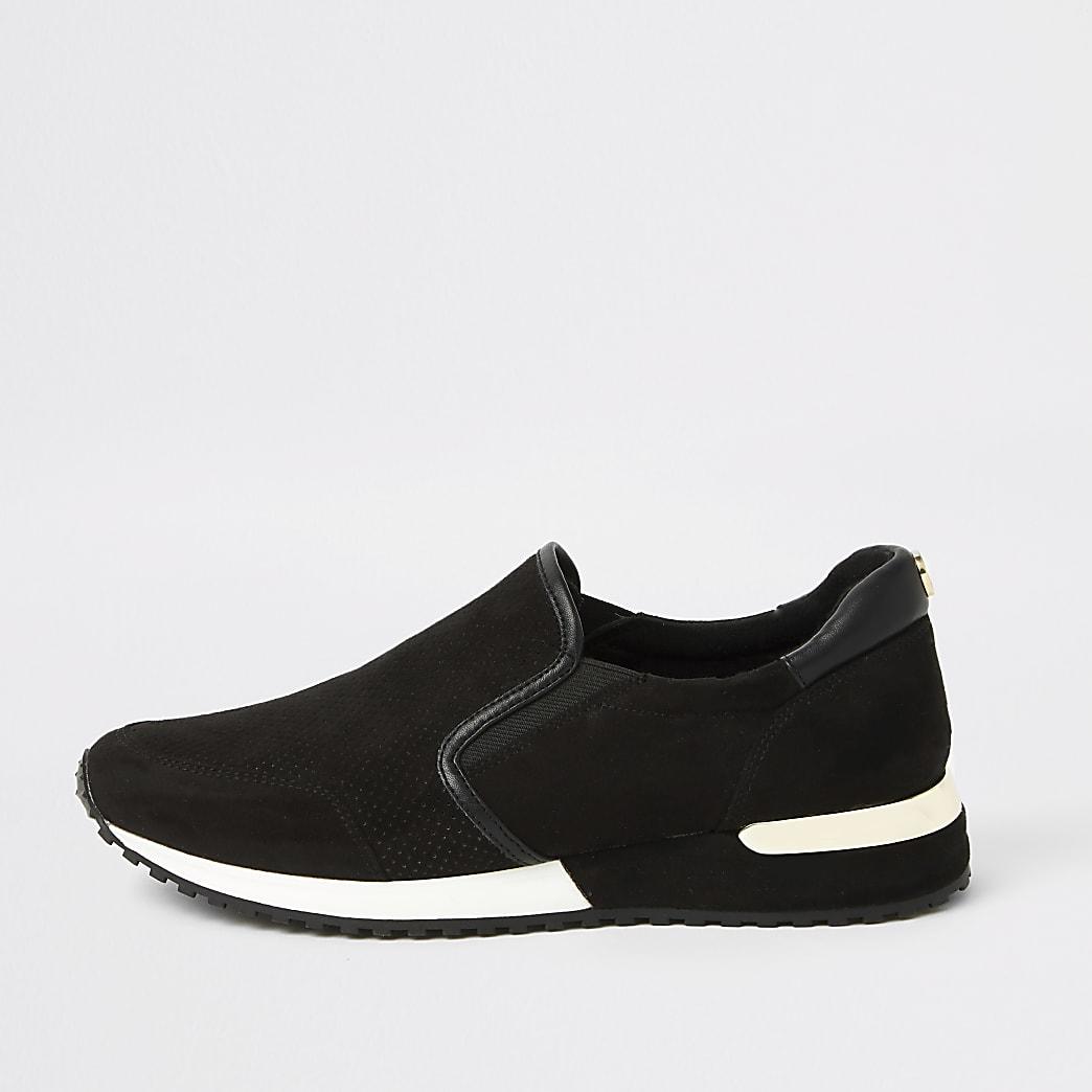 Zwarte hardloopschoenen met perforaties