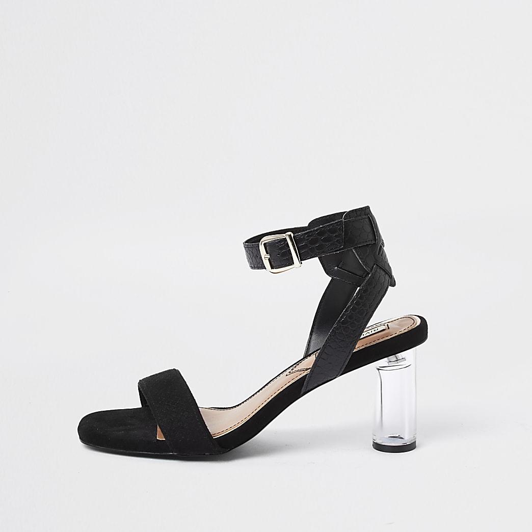 Black perspex block heel sandal