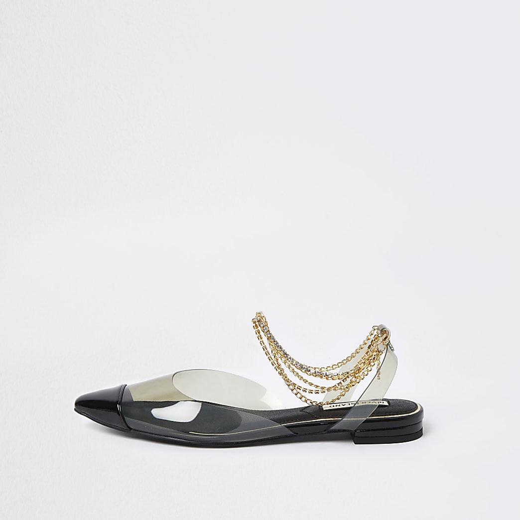 Black perspex gold ankle chain sandal