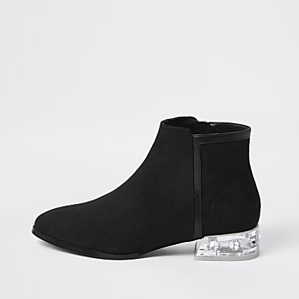 Black perspex heel ankle boot