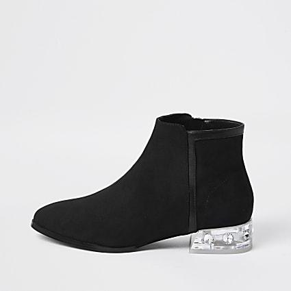 Black perspex heel ankle boots