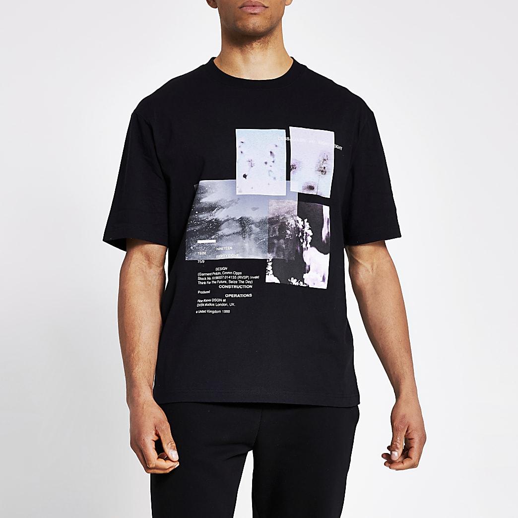 Zwart boxy fit T-shirt met fotoprint