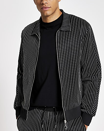 Black pinstripe slim fit zip through shirt