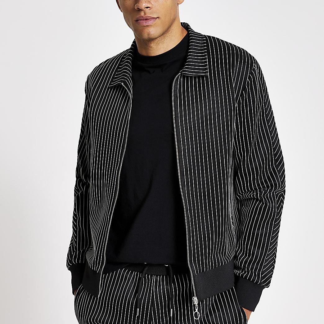 Zwart slim-fit shirt met krijtstreep en ritsluiting
