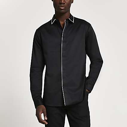 Black piped sateen long sleeve shirt