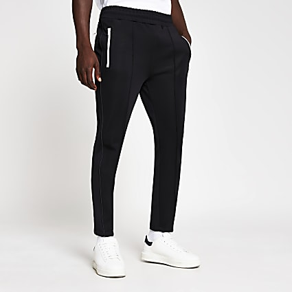 Black piped slim fit joggers