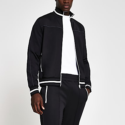 Black piped slim fit track jacket