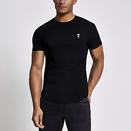 Black pique slim fit T-shirt