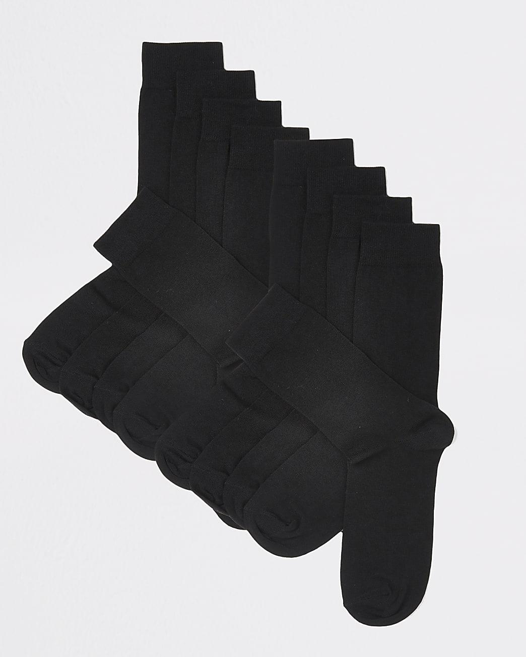 Black plain ankle socks 10 pack